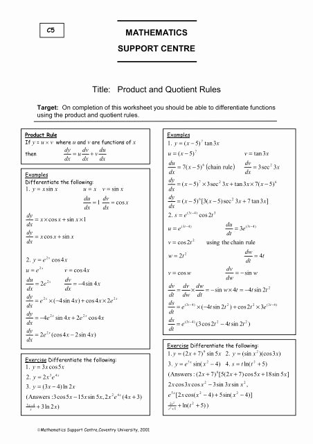 Product and Quotient Rule Worksheet Lovely Mathematics Support Centre Title Product and Quotient Rules