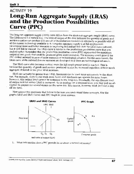Production Possibilities Curve Worksheet Answers Fresh 50 Production Possibilities Curve Worksheet Answers In 2020