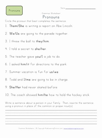 Pronoun Worksheet for 2nd Grade Inspirational Choose the Pronoun 2nd Grade Pronoun Worksheet 1
