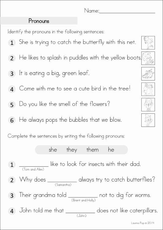 Pronoun Worksheet for 2nd Grade New Grade Homework An Introduction with Pronoun