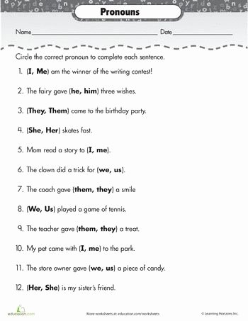 Pronoun Worksheets for 2nd Grade Lovely Image Result for Worksheets About Pronouns 2nd Grade