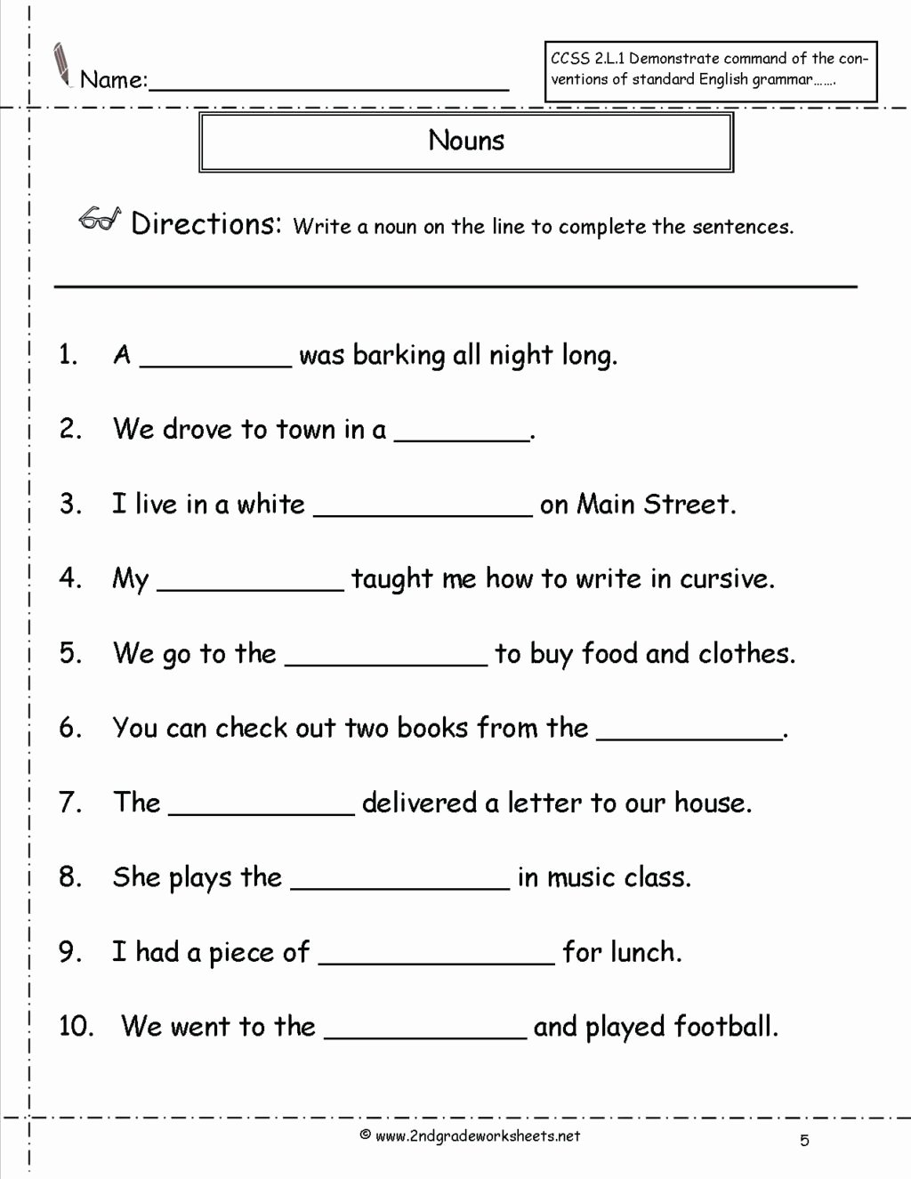 Pronoun Worksheets for 2nd Graders New Worksheet Free Printable Second Grade Reading