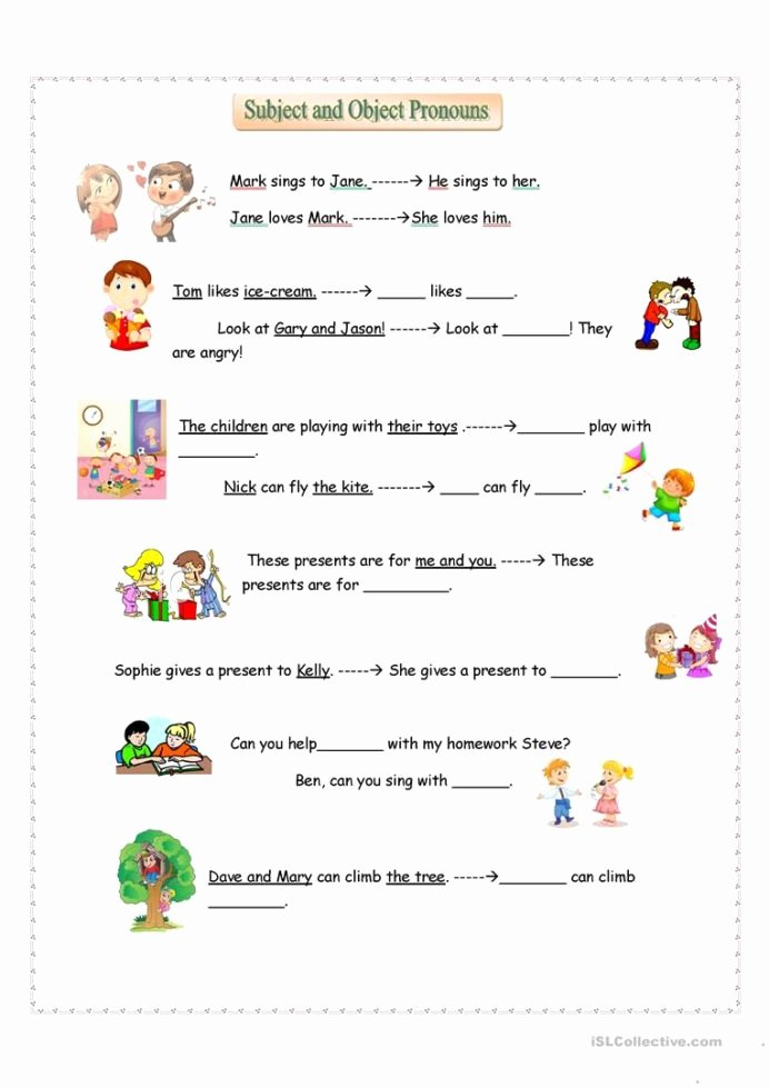 Pronoun Worksheets for Kindergarten Free Ideas Subject and Object Pronouns English Esl Worksheets for