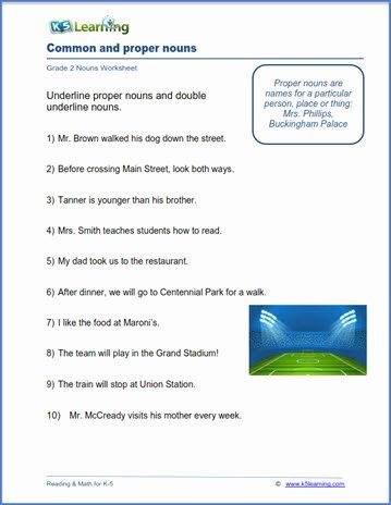 Proper Nouns Worksheet 2nd Grade Kids Grade 2 Nouns Worksheets