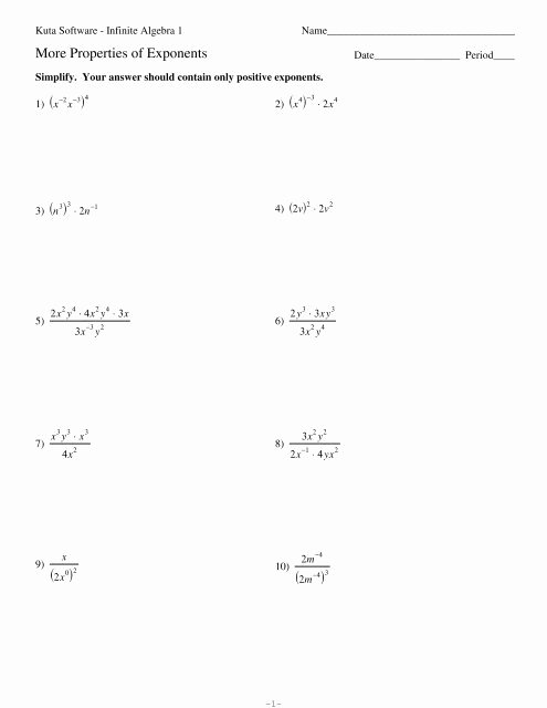 Properties Of Exponents Worksheet Answers top Properties Exponents Kuta software Worksheets Math
