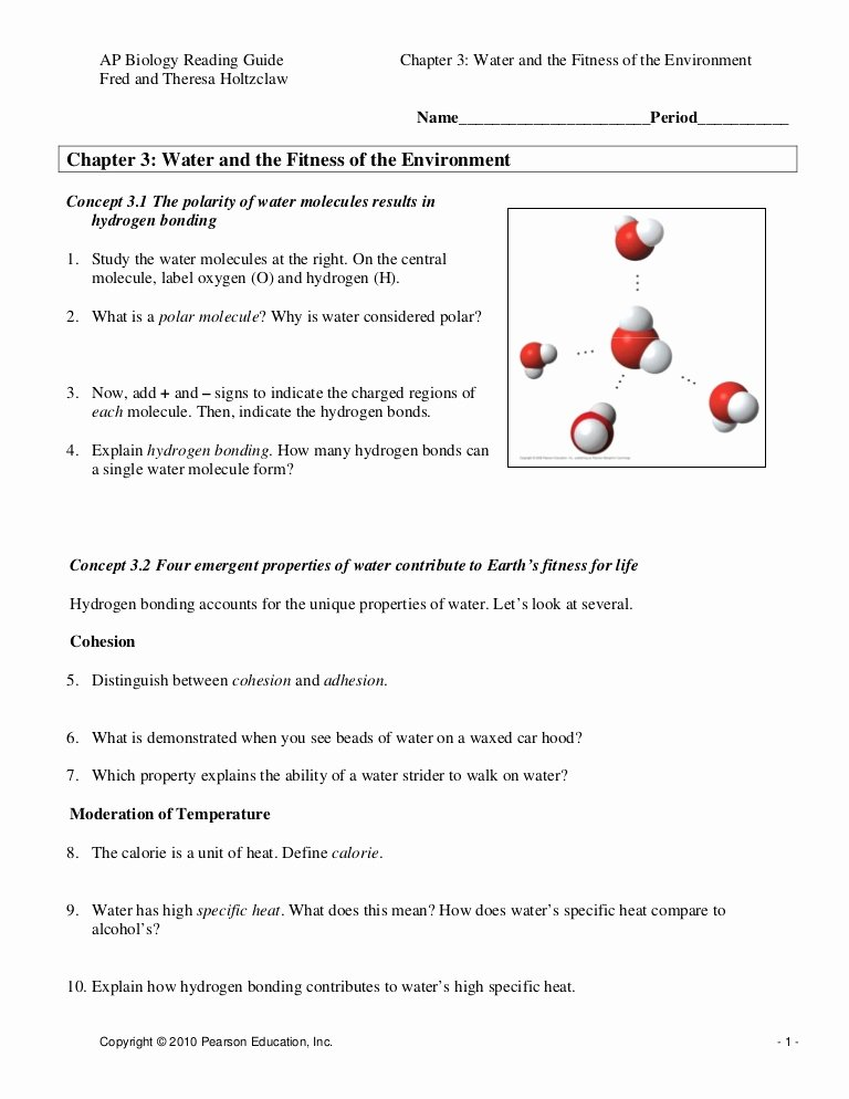 Properties Of Water Worksheet Biology Best Of Chapter 3 Water and the Fitness Of the Environment
