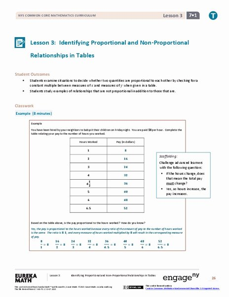 Proportional and Nonproportional Relationships Worksheet Best Of Identifying Proportional and Non Proportional Relationships