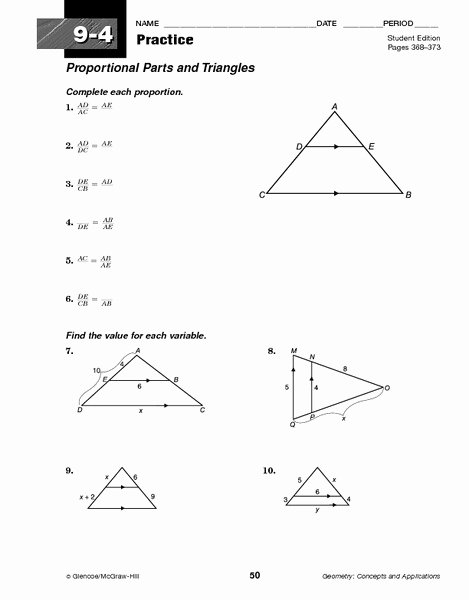 Proportions and Similar Figures Worksheet Best Of Proportional Parts and Triangles Worksheet for 10th Grade