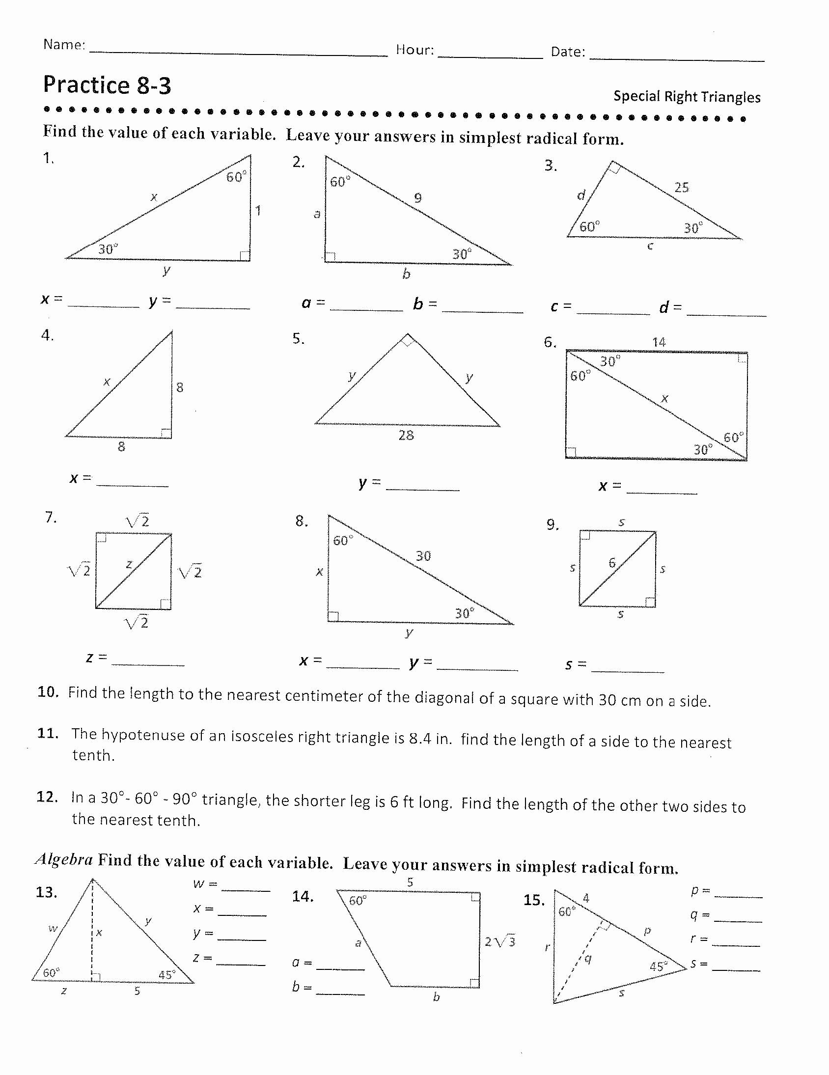 Proportions and Similar Figures Worksheet Best Of Similar Triangles Ratio Worksheet