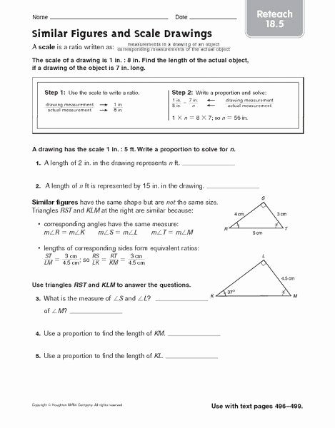 Proportions and Similar Figures Worksheet Lovely Proportions and Similar Figures Worksheet Reteach Similar