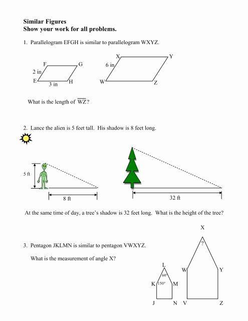 Proportions and Similar Figures Worksheet top Worksheet On Similar Figures with Multiple Choice