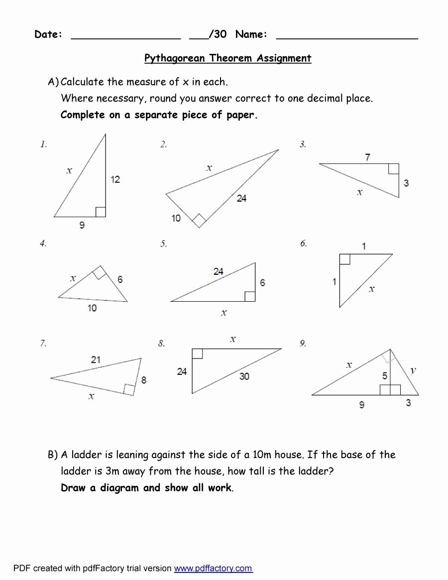Pythagorean theorem Worksheet with Answers Best Of Pythagorean theorem Worksheet Answers