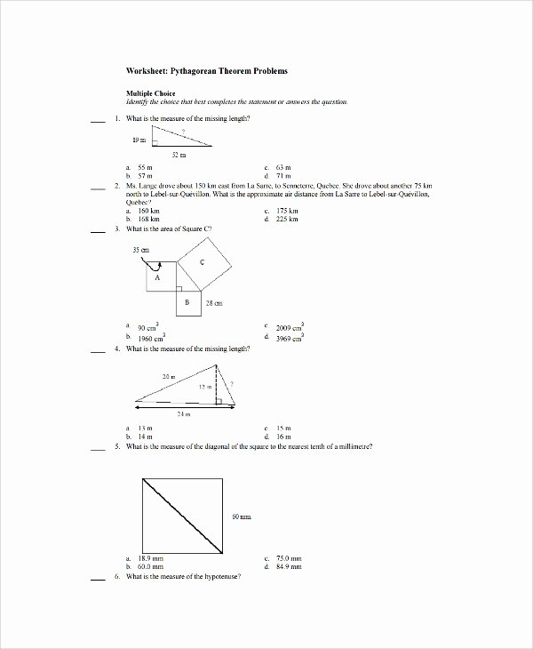 Pythagorean theorem Worksheet with Answers Free Free 9 Sample Pythagorean theorem Worksheet Templates In Ms
