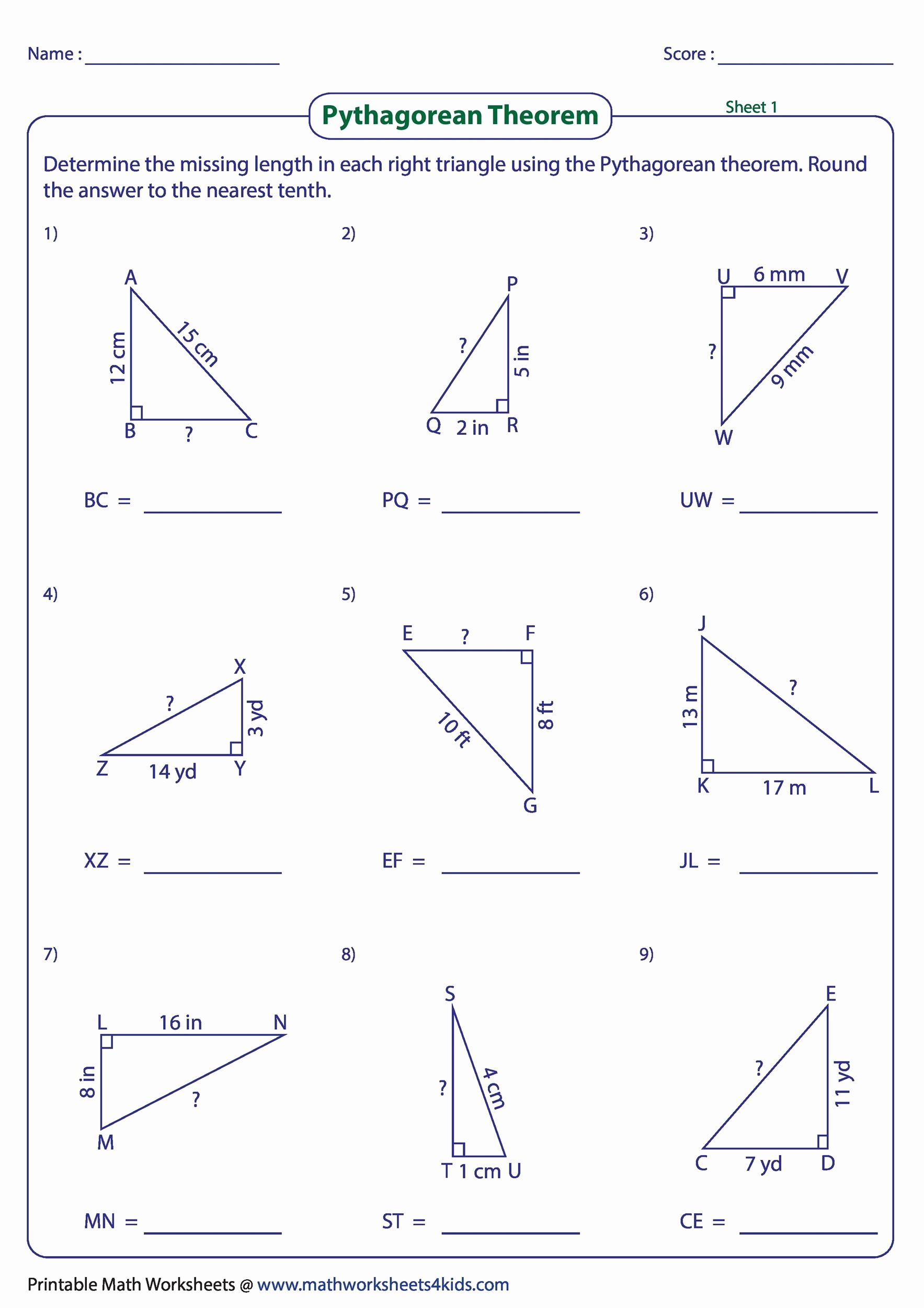 Pythagorean theorem Worksheet with Answers Fresh 34 Pythagorean theorem Worksheet Answer Key Worksheet