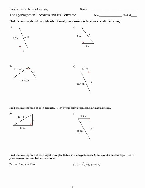 Pythagorean theorem Worksheet with Answers Ideas 8 the Pythagorean theorem and Its Converse Kuta software