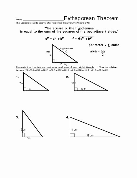 Pythagorean theorem Worksheet with Answers Ideas Pythagorean theorem Worksheet for 8th 10th Grade