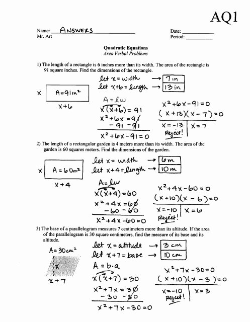 Quadratic Equation Worksheet with Answers Kids Quadratic Equations area Problems Worksheet Aq1 Answers