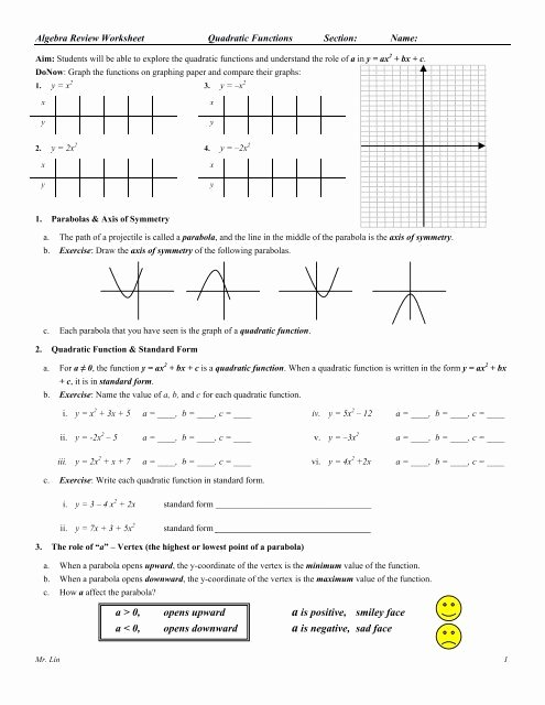 Quadratic Functions Worksheet with Answers Best Of Algebra Review Quadratic Functions Worksheet 01
