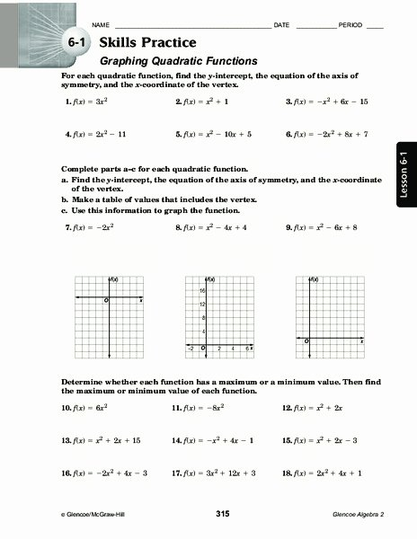 Quadratic Functions Worksheet with Answers Best Of Graphing Quadratic Functions Worksheet for 11th Grade
