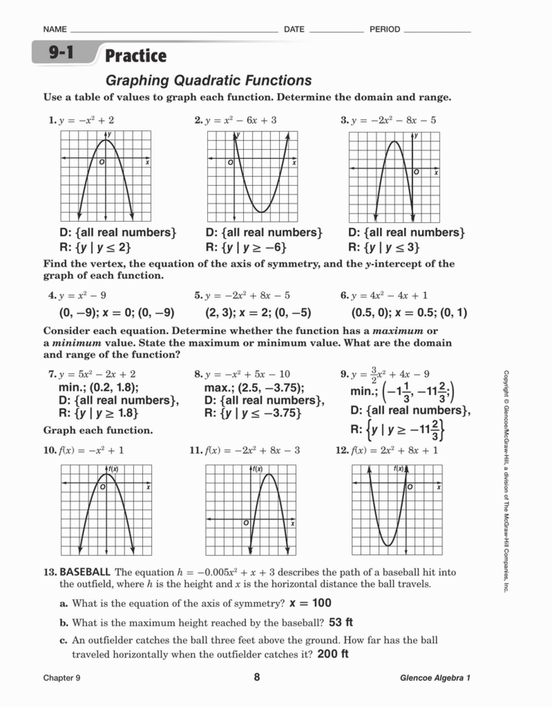 Quadratic Functions Worksheet with Answers Printable Worksheet Graphing Quadratic Functions Keyfeatures