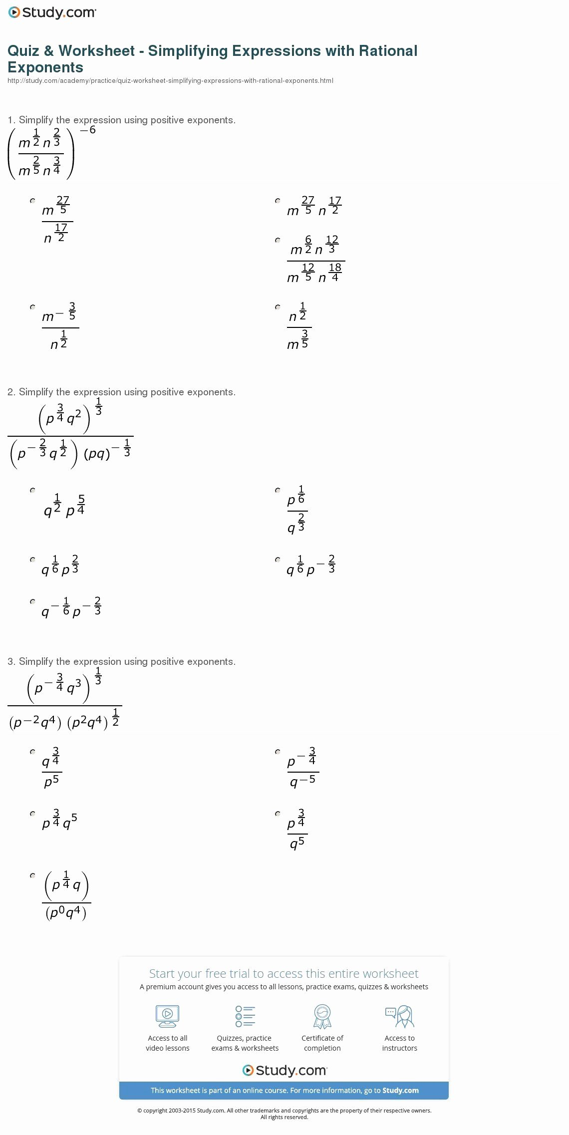 Radical and Rational Exponents Worksheet Best Of 50 Radical and Rational Exponents Worksheet In 2020