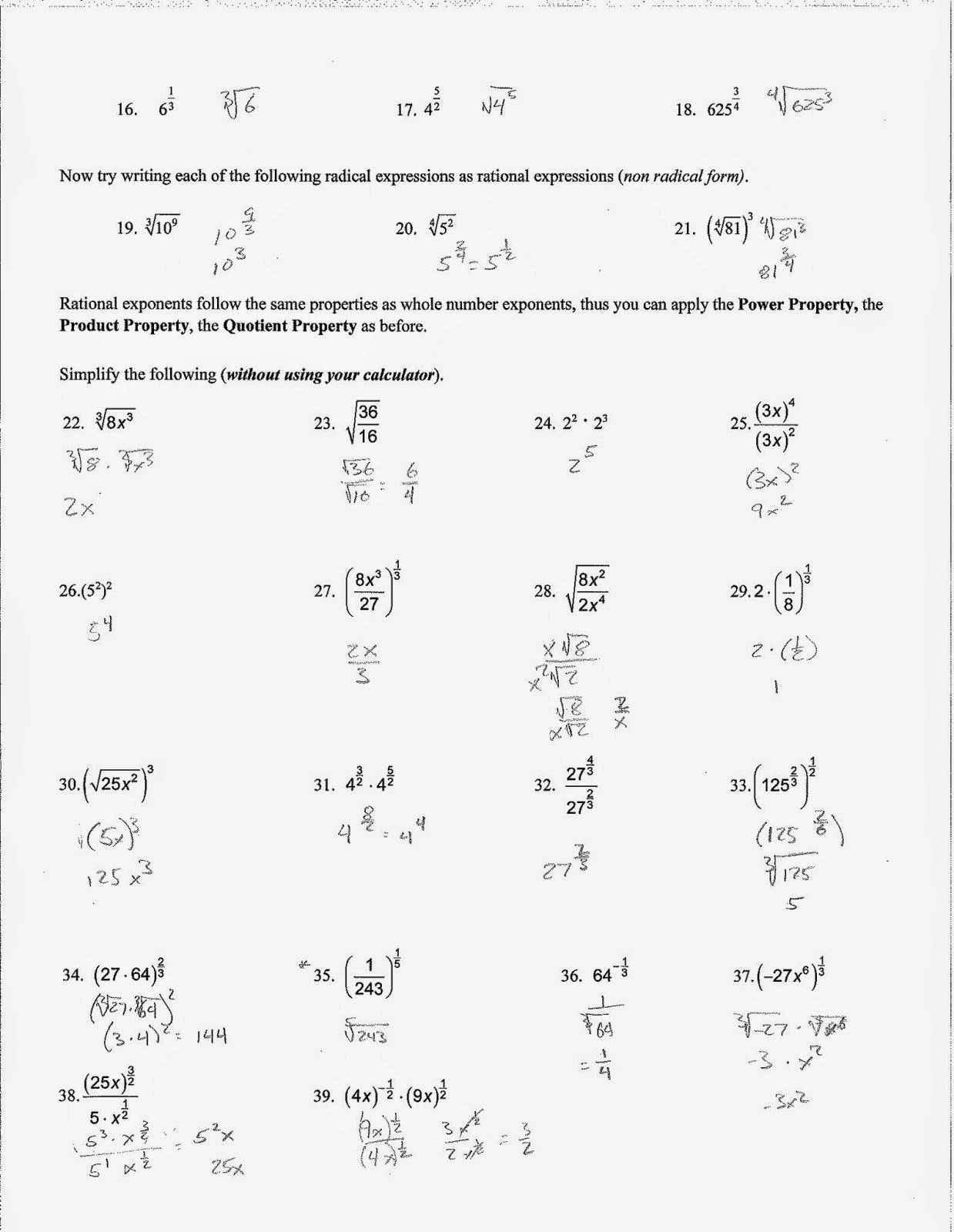 Radical and Rational Exponents Worksheet Lovely Radicals and Rational Exponents Worksheet Unique Simplifying