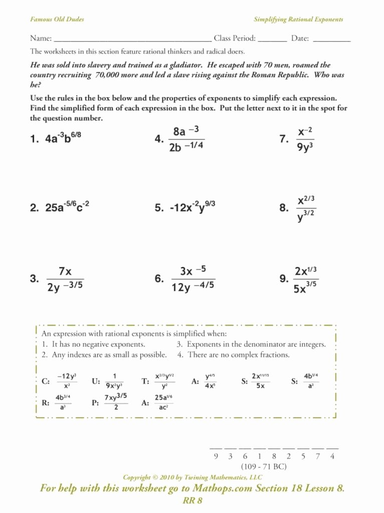 Radical and Rational Exponents Worksheet New Radicals and Rational Exponents Worksheet New Downloadable