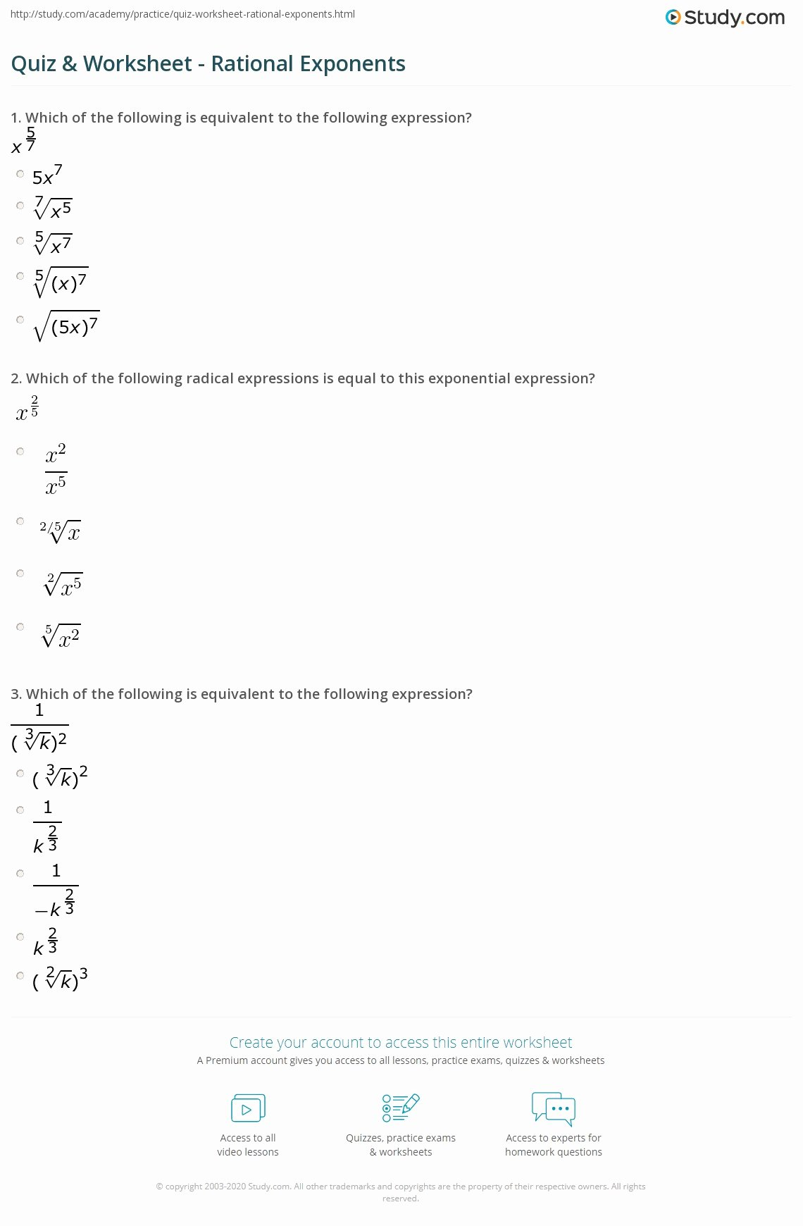 Radical and Rational Exponents Worksheet top Quiz & Worksheet Rational Exponents