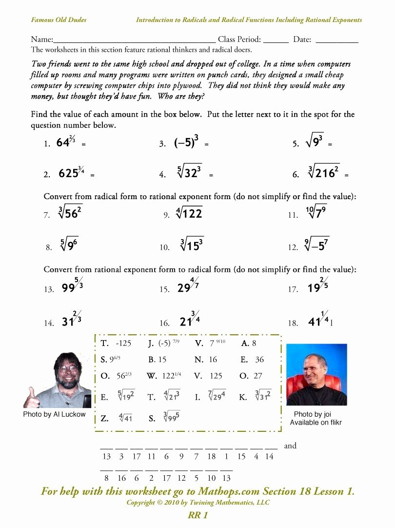 Radicals and Rational Exponents Worksheet New Radical and Rational Exponents Worksheet Inspirational Rr 1