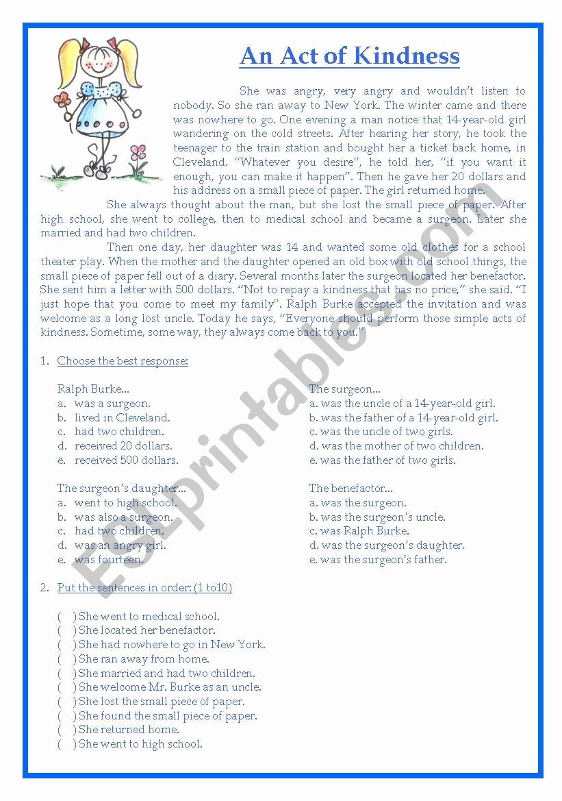 Random Acts Of Kindness Worksheets Free Text An Act Of Kindness Esl Worksheet by Adristrey