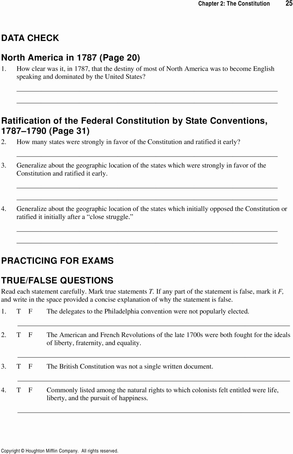 Ratifying the Constitution Worksheet Answers Printable Ratifying the Constitution Worksheet Nidecmege