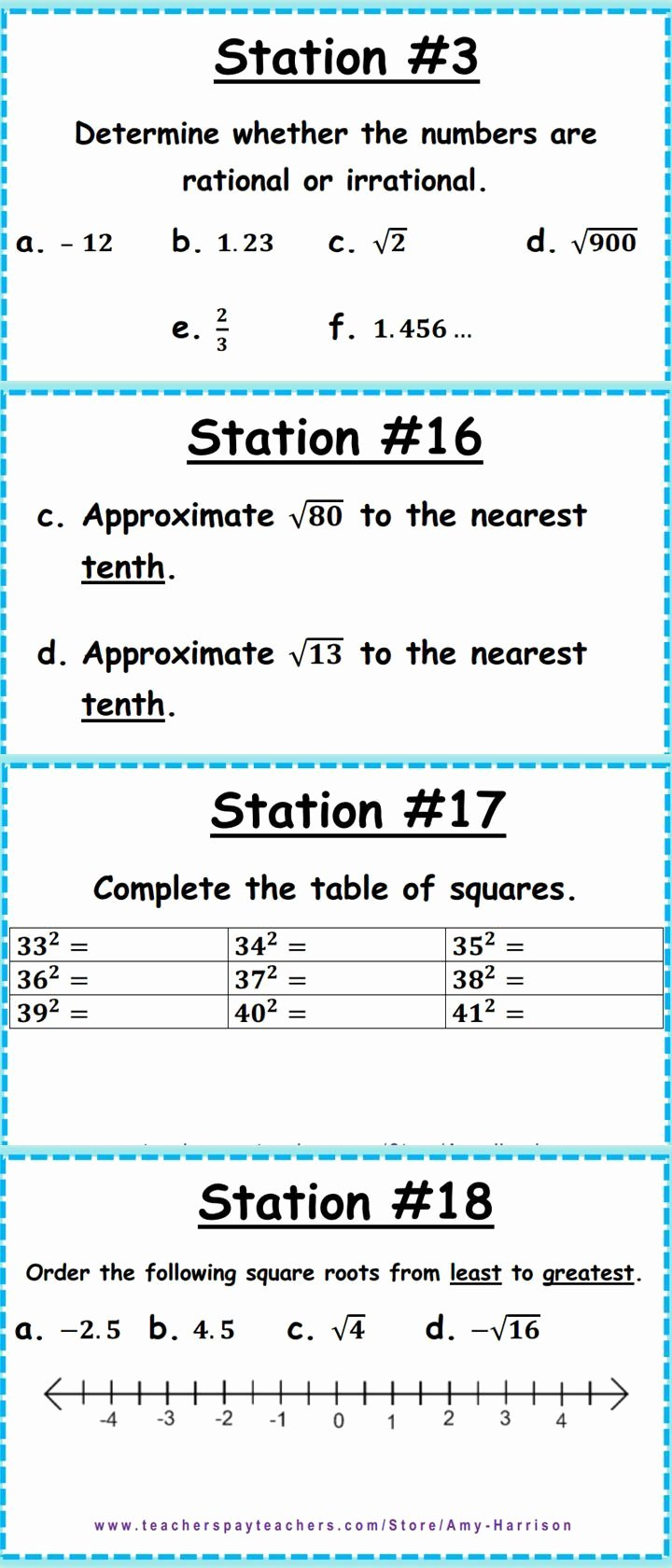 Rational and Irrational Numbers Worksheet Best Of Irrational and Rational Numbers Stations or Task Cards 8