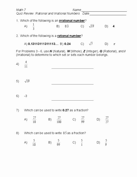 Rational and Irrational Numbers Worksheet Best Of Quiz Review Rational and Irrational Numbers Worksheet for