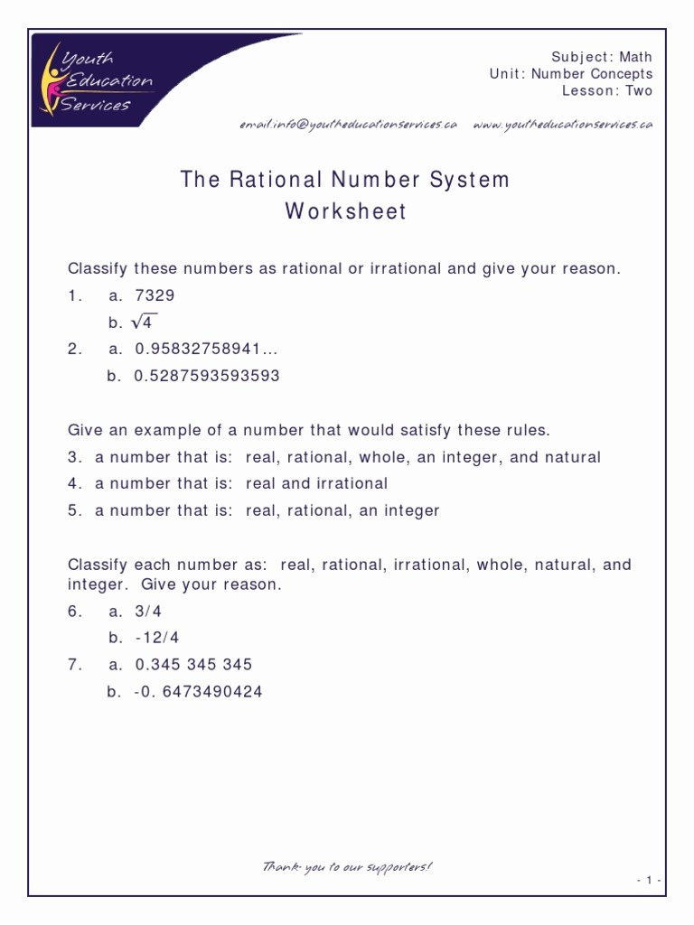 Rational and Irrational Numbers Worksheet Printable Rational & Irrational Numbers Number System