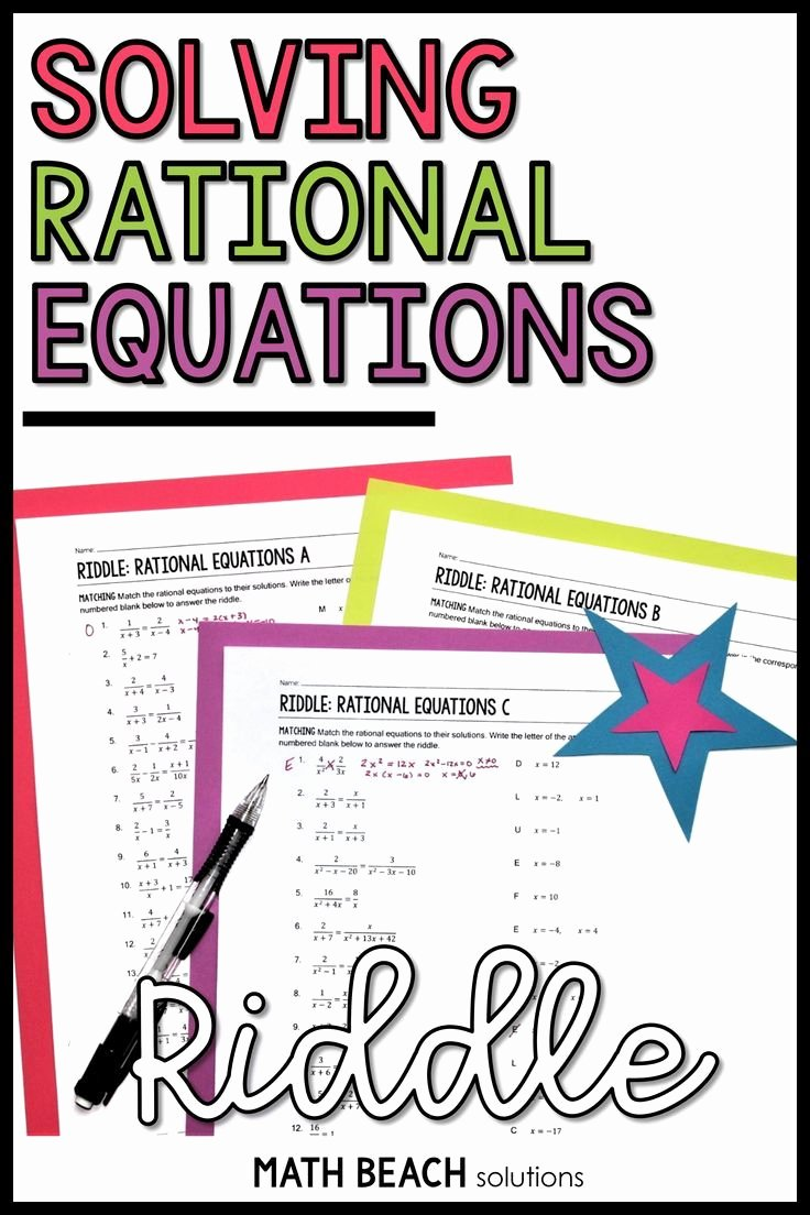 Rational Equations Word Problems Worksheet Inspirational solving Rational Equations Riddle Activity In 2020