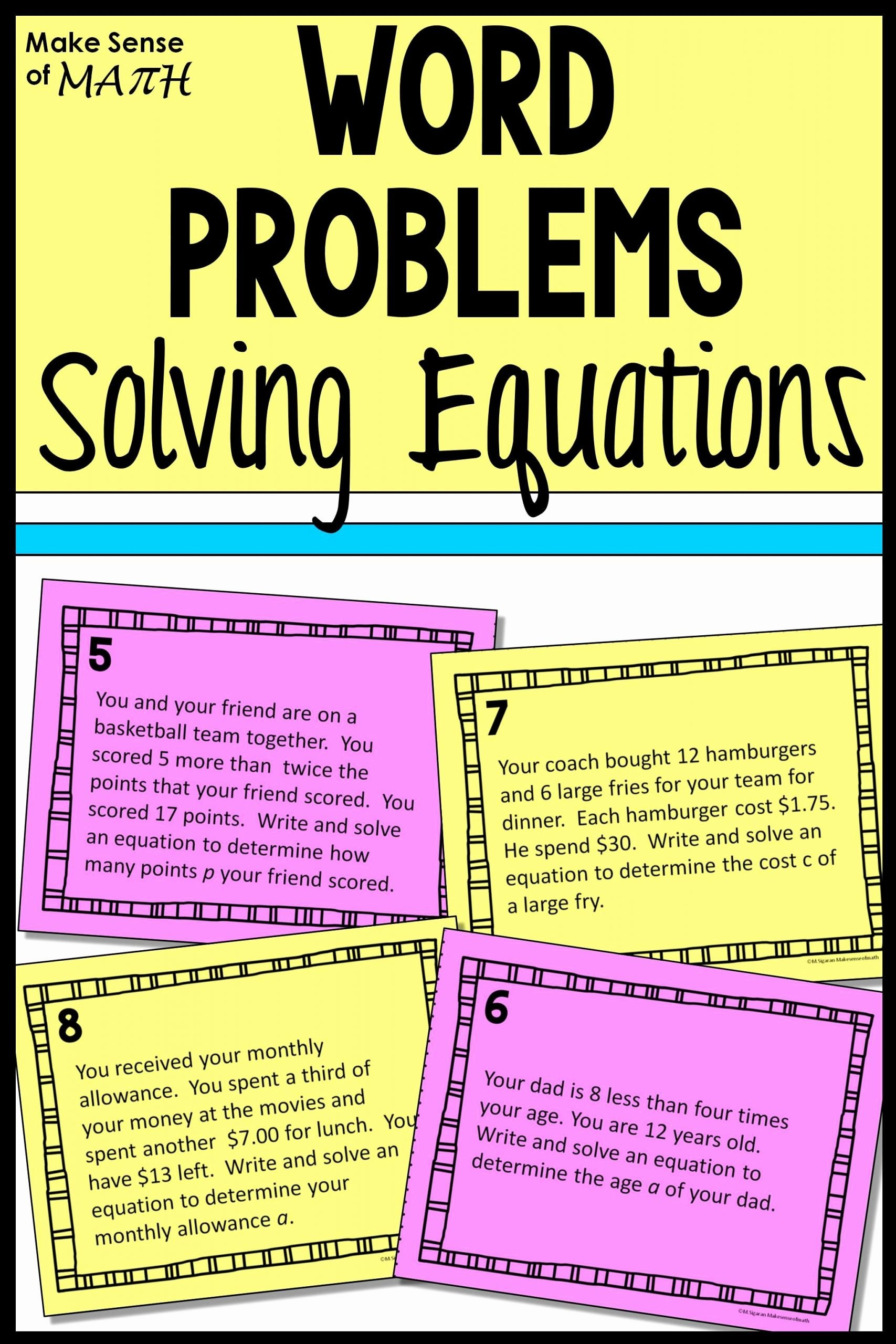 Rational Equations Word Problems Worksheet Kids solving Equations Word Problems