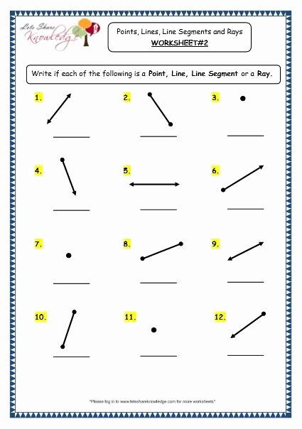 Rays Lines Line Segments Worksheet New Lines Line Segments and Rays Worksheets