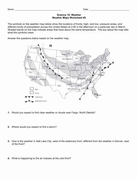 Read A Weather Map Worksheet Inspirational 7 Reading Weather Maps Worksheet Answers