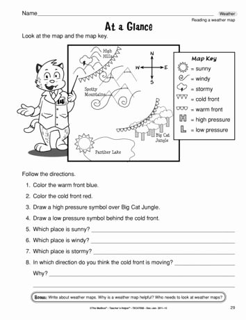 Read A Weather Map Worksheet Printable at A Glance Lesson Plans the Mailbox