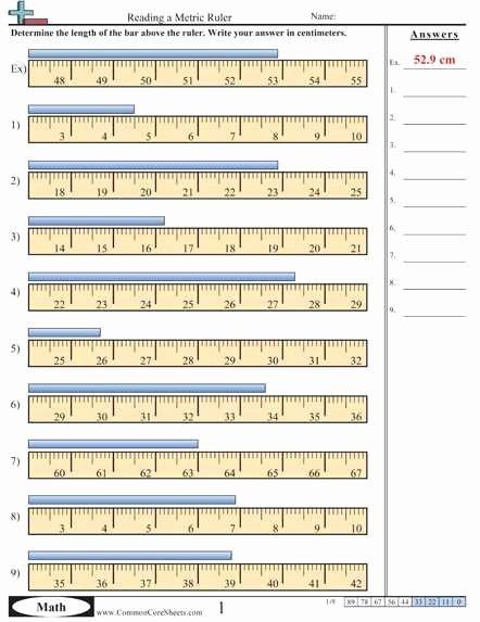 Reading A Metric Ruler Worksheet Fresh Measurement Conversion Worksheets In 2020