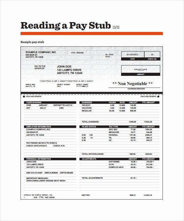 Reading A Pay Stub Worksheet Lovely Free 14 Sample Editable Pay Stub Templates In Pdf