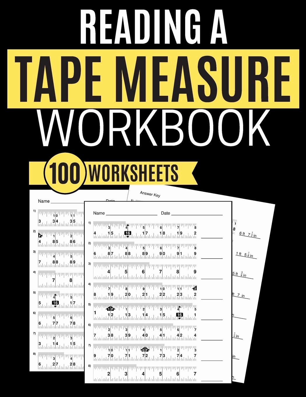 Reading A Tape Measure Worksheets Printable Reading A Tape Measure Workbook 100 Worksheets Learning