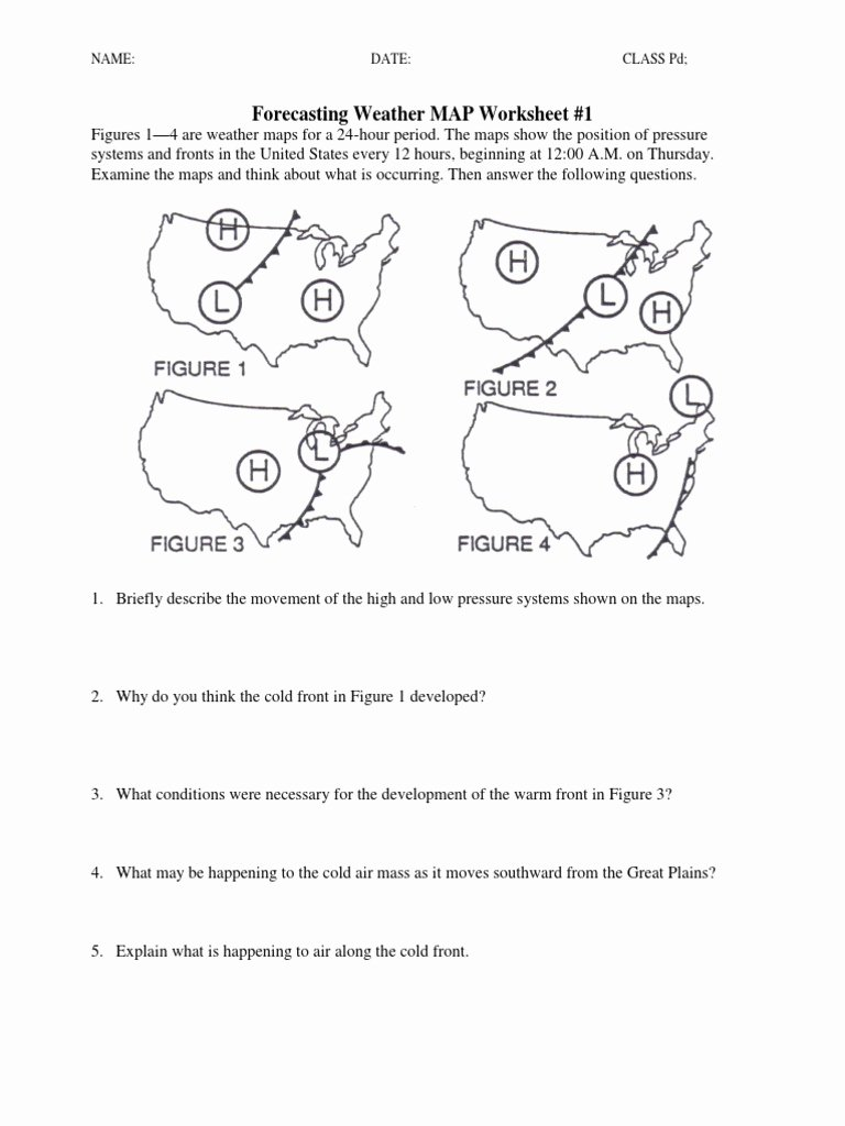 Reading A Weather Map Worksheet Ideas Ws forecasting Weather Map 1 5 Weather