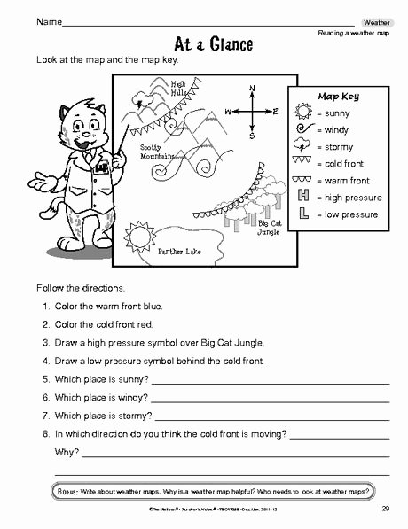 Reading A Weather Map Worksheet top Science Worksheet Reading A Weather Map the Mailbox