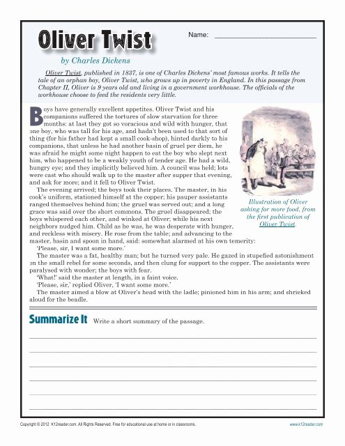 Reading Comprehension 7th Grade Worksheet Best Of Oliver Twist