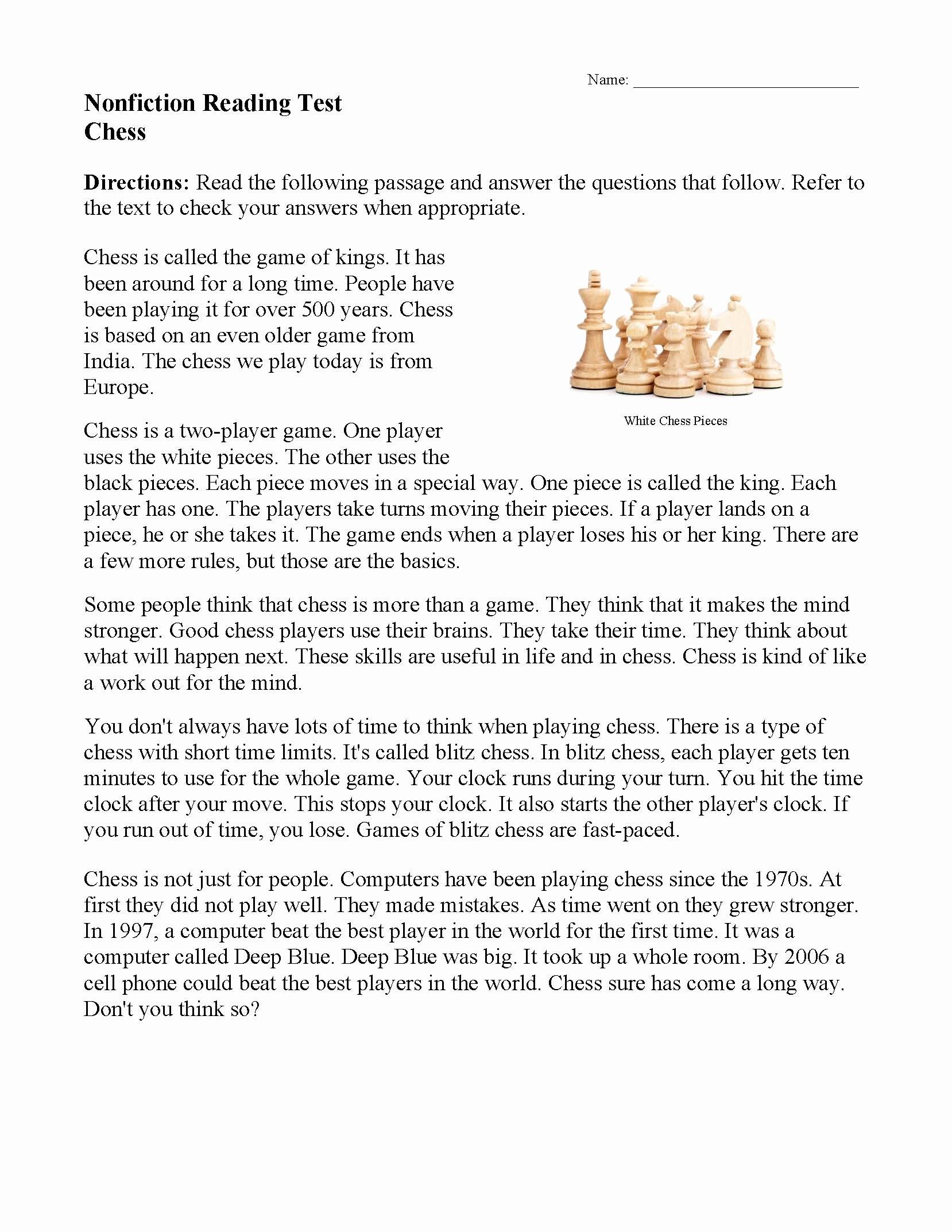 Reading Comprehension 7th Grade Worksheet Printable Reading Prehension Worksheets