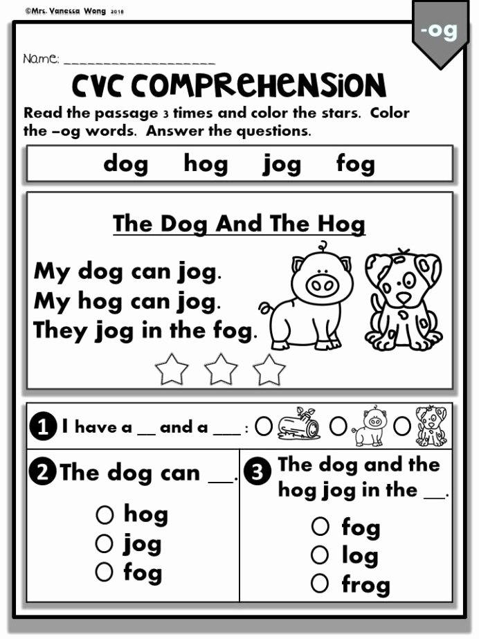 Reading Comprehension Kindergarten Worksheets Free Best Of Phonics Worksheets Cvc Prehension Readers Kindergarten