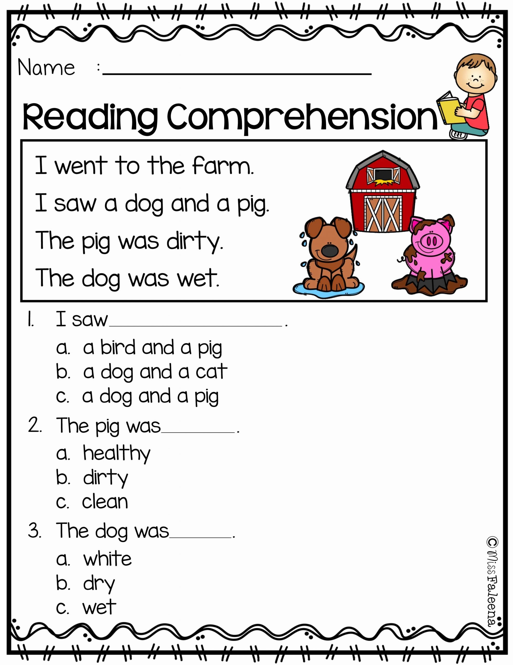 Reading Comprehension Kindergarten Worksheets Free Free Free Reading Prehension