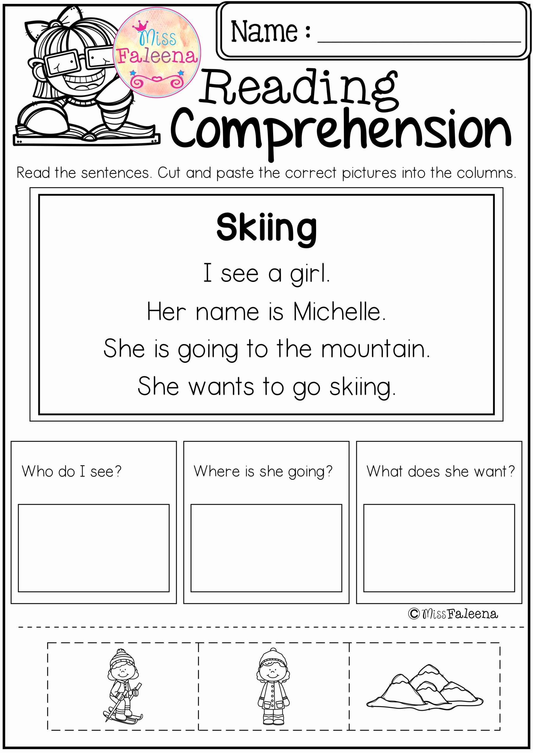 Reading Comprehension Kindergarten Worksheets Free Printable Math Worksheet Freeheets for Kindergarten Reading and