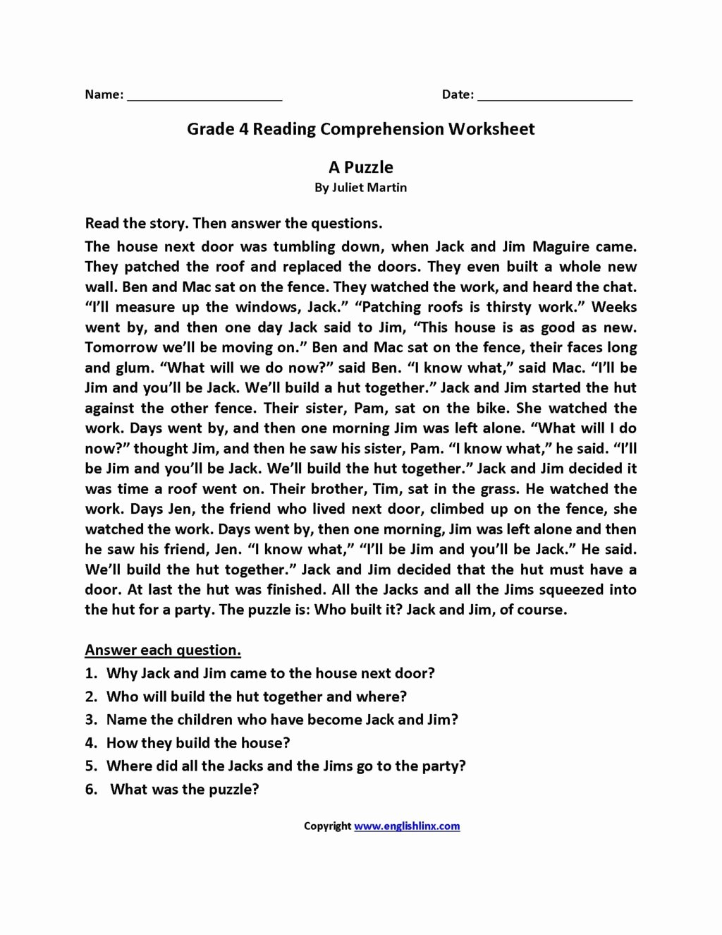 Reading Comprehension Worksheets 6th Grade Fresh Worksheet Stunning Third Grade Reading Prehensionets